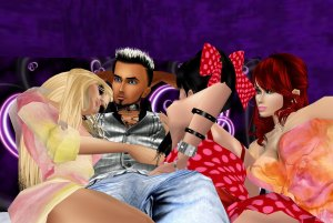 sexy imvu friends cuddling on the couch