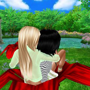 1Taylyn loving Taylor in summer meadow (3)