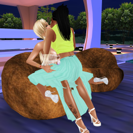 1Taylyn talking and cuddling on benches in summer camp (4)