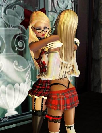 sexy school girl hugs